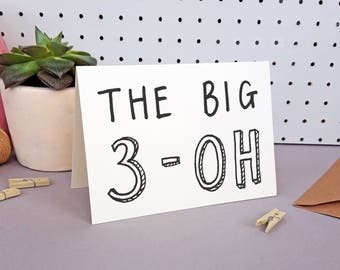 30th Birthday Card | The Big 3-Oh | Hand-lettered