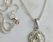 Necklace - Ste Madeleine 18mm - Sterling Silver + 20 inch Sterling Box Chain