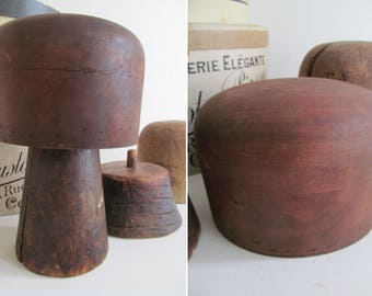 Tactile collection of antique/vintage HAT BLOCKS & STANDS~2 blocks/2 stands~Uniquely aged, brimming with character-Amazing millinery display