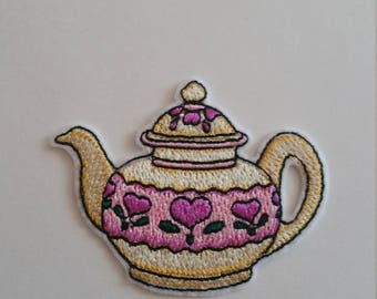 Beautiful teapot iron on or sew on patch Teapot iron on patch Teapot sew on patch Teapot patch Tea patch Teapot applique Tea patch