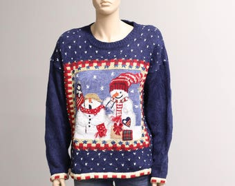 Vintage Christmas Sweater. Tacky Christmas Sweater. Holiday Sweater. Vintage Sweater. Snowmen Christmas Pullover.