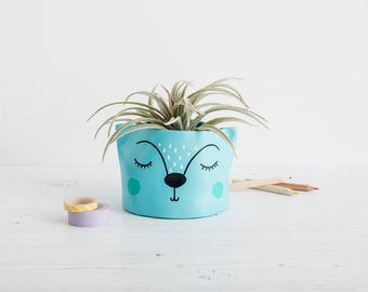 Small Succulent Planter, animal plant pot, handmade planter, pen pot, mini plant pot, cactus pot, super cute planter,folk decor, ceramic pot