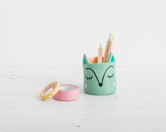 Tiny Animal pot, handmade planter, pen pot, mini plant pot, cactus pot, super cute planter, folk decor, ceramic pot