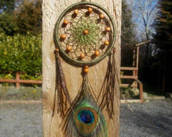 3 inch Green Brown Dreamcatcher With Peacock Feather - Car Rear View Mirror Ornament - Wall Hanging Home Decor - Hippie Boho Dream Catcher
