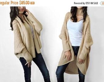 30% OFF Plus size sweater Knit cardigan Loose sweater Beige Multi size Camel sweater Long sweater coat Short overcoat Womens sweaters