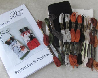 Punch Needle KIT ~ Fall Banners ~ Punchneedle Kit ~ Needle Punch Kit ~ Mailed Paper Pattern ~ Squirrel ~ Acorn ~ Pumpkin ~ Black Cat