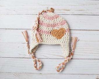 Valentine's Day Hat, Valentine's Baby Hat, Heart Hat, Baby Heart Hat, Striped Baby Beanie, Earflap Baby Hat, Blush Hat, Striped Knit Hat