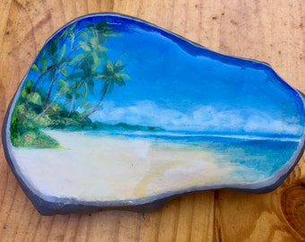 Tropical Island Painted Rock