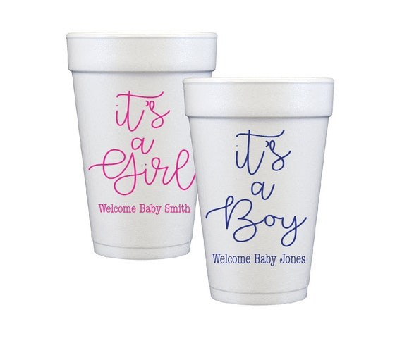 gender reveal baby shower its a boy its a girl baby shower cups gender reveal cups personalized cups styrofoam cups custom foam cups