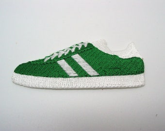 Application, badge, patch, embroidered green tennis shoe