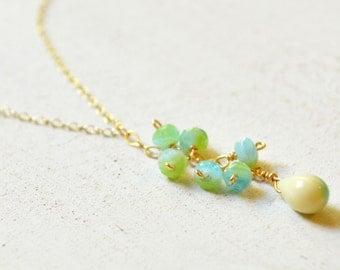 Teardrop Necklace, Cluster Necklace Gold, Dangling Bead Necklace, Bead Drop Necklace
