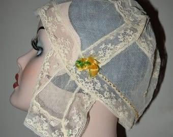 Fab Antique Edwardian Beaded Lace Boudoir Cap Bonnet w Rosettes