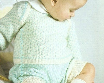 "Baby Knitting Pattern pdf Baby Boy Jumper and Shorts 18 - 22"" chest Double Knit"