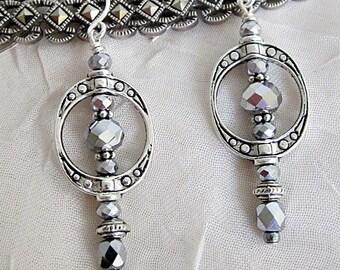 "Silver Frame Earrings, Oval Frame Earrings, Pewter Frame Dangles, Downton Abbey Earrings, Open ""Frame"" Earrings, Silver Crystal Earrings"