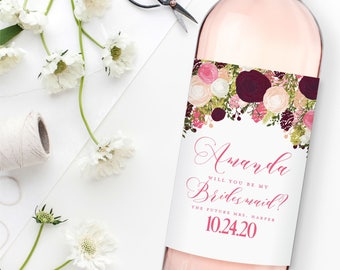 Will You Be My Bridesmaid? Wine Labels, Bridesmaid Wine Bottle Labels, Ask Bridesmaid, Bridesmaid Maid of Honor Gift, Wine Labels #CL113