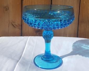 Vintage Beautiful Blue Indiana Glass Diamond Point Cut Candy Dish 1970's