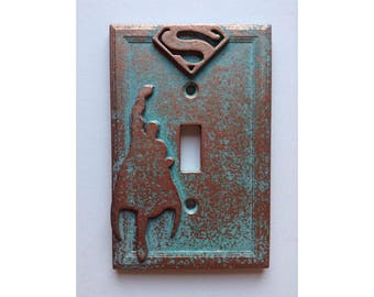 Superman - Light Switch Cover - Aged Copper/Patina or Stone