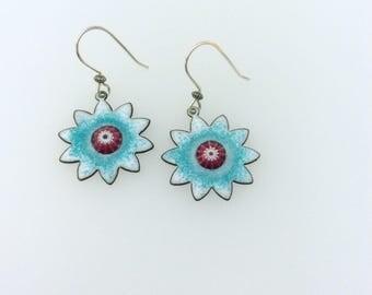 Ocean Blue with pink & white murrini flower shaped enamel copper earrings with Artisan sterling silver ear wires
