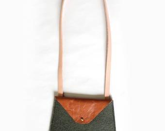 Moss Felt & Leather Crossbody Bag