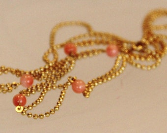 Necklace in genuine pink coral on plated gold 18 microns (ref c30)