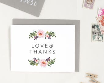 Thank You Cards Wedding. Set of Floral Thank You Cards. Thank You Card Set. Blank Thank You Card. Floral Thank You Card. Floral Thanks. TY17