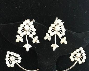 Marcel Boucher Over the Ear Earrite Ear Wrap Heart Clear Rhinestone Glamour Earrings