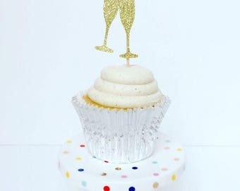 Champagne Cupcake Toppers / Cheers Cupcake Toppers / Set of 12