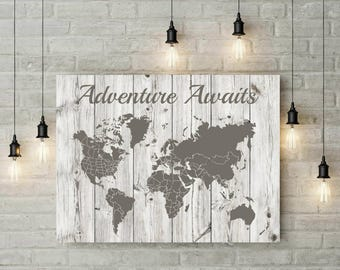 Extra Large Travel World Map | Push Pin | Custom Canvas | Foam Board | Wood Art Print | Anniversary Gift For Him | Her | Wall Art - 69977