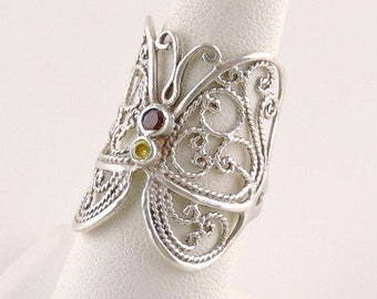 Size 7 Sterling Silver Red And Yellow Rhinestone Filigree Butterfly Ring