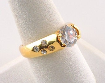 Size 9 18k Gold Plated 2ct Round Cubic Zirconia Ring With Accent Stones