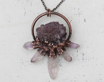 Raw Electroformed Cactus/Spirit Quartz Flower Crystal Necklace Vera Cruz Amethyst Point Spike Faerie Pendant In Copper