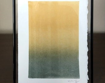 Ombre Original Painting, Printmaking Ink, Ombre', Gold and Green,