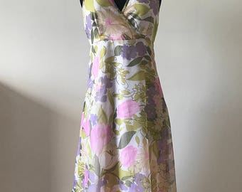 1970s Floral Halter Neck Dress