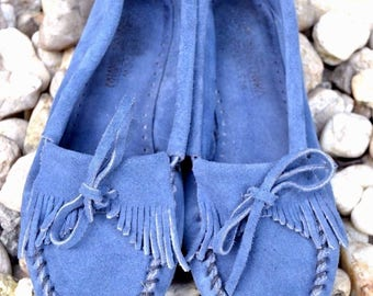Vintage Minnetonka KILTY Blue Fringe Women's Leather Moccasin Softsole Flat shoe size 8