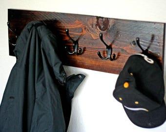 Handmade Rustic Wood Coat Rack, Wall-Mounted Coat Rack