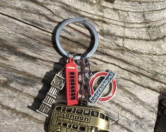 LONDON CALLING Key Chain | British Key Chain | London Key Ring | Underground | British Key Chain | Big Ben | Double Decker Bus