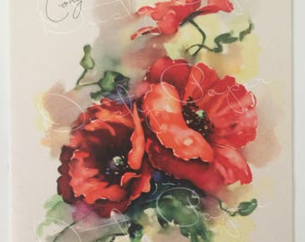 Congratulations - Unused Vintage 1940s Card with Lush Poppies