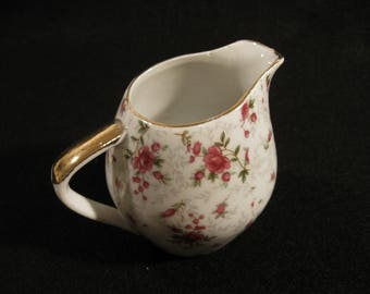 ROSE CHINTZ CREAMER with Gold Trim Made In Japan Mid Century