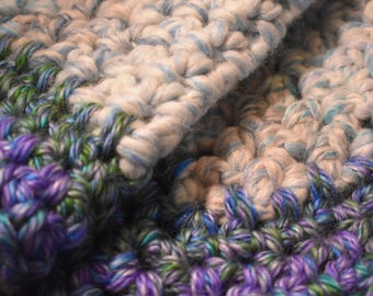 Icy Blue & Gradient Purple Crochet Cat Mat featuring Greens, Cream, and Blues