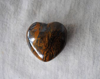 Tiger Iron,Golden Brown Tiger Eye, Hematite,Puffy Stone Heart