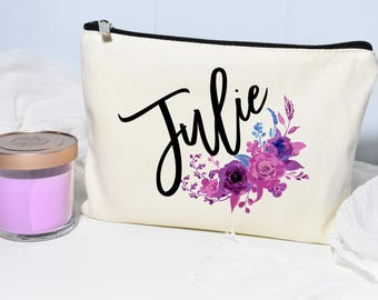 Best Friend Gift, Floral Makeup Bag, Makeup Case, Personalized Makeup Bag, Bridesmaid, Makeup Bag, Cosmetic Bag, Canvas Bag, Gift for Her
