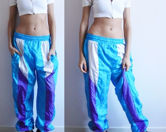 SPORTY SPICE PANTS -80s, 90s, club kid, cyber, vaporwave, seapunk, festival, party, pastel, purple, blue, trousers, track, training, shiny-