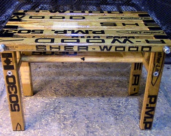 Footstool constructed/upcycled from vintage Sher-Wood hockey sticks
