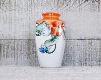 Vase Ceramic Vase Hand Painted Vase Porcelain Vase Flower Vase Mid Century Vase Asian Vase Boho Decor Unique Vase Orange Vase White Vase