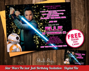 Rey Invitation, The Last Jedi Invitation, Star Wars Birthday Invitation Star Wars Invitation Printable New Movie Invite Digital File - ID001