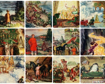 The Little Humpbacked Horse - Fairy Tale of P. Yershov - Illustrator V. Milashevsky - Set of 12 Vintage Soviet Postcards, 1958. Tsar Print