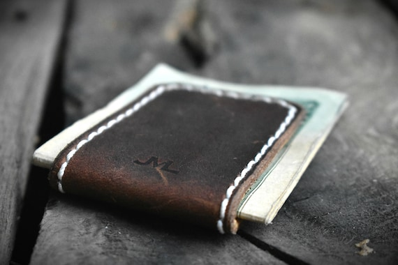 Leather Cash Clip Magnetized, Personalized, Branded and Made in ALASKA, Money Holder