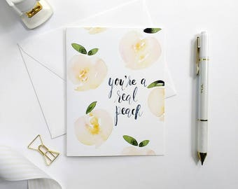 Hand-Painted Thank You Card, Peach Card, You're A Real Peach Card, Watercolor Notecards, Hand-Painted Card, Watercolor Thank You Card