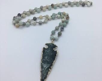 Teal Arrowhead Necklace