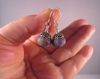 Handmade Lampwork Glass Bead Earrings,Floral Tone Earrings, Sterling Silver Earrings
